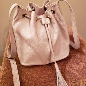 J. Crew drawstring tassel tan handbag